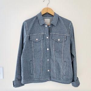 Avec Les Filles Pinstripe Jacket Button Up Medium